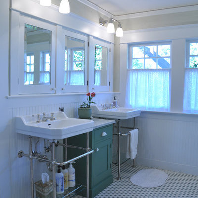 Mid-sized arts and crafts mosaic tile floor bathroom photo in Portland with white walls and a console sink