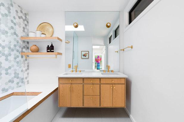 Midcentury Bathroom by Penny Black Interiors LLC.