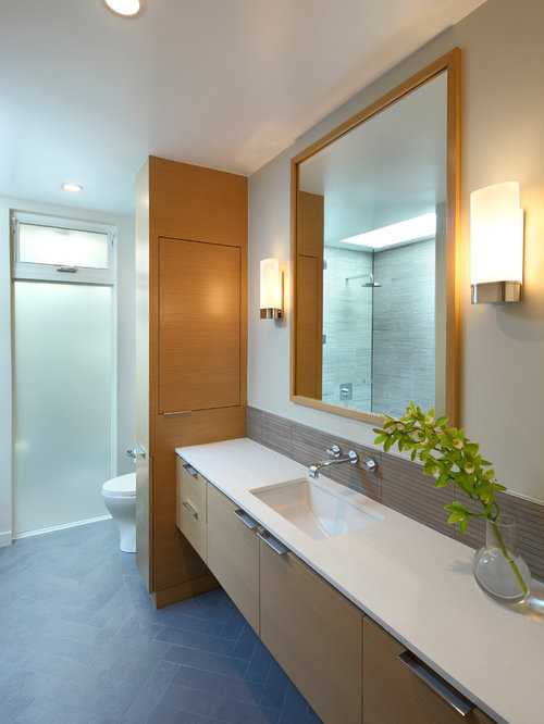 Bathroom   Large Contemporary Master Gray Tile Ceramic Floor Bathroom Idea  In Los Angeles With An
