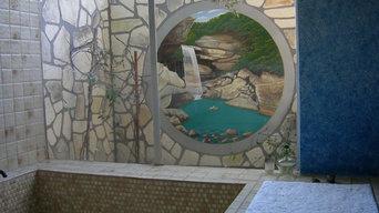 Hunter Residence Bathroom enclosure wall