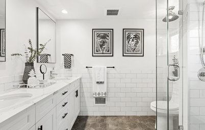 Geometric Patterns Energize a Black-and-White Bathroom