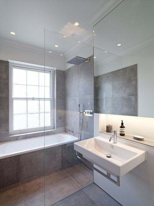 Gray bathroom tiles houzz for Bathroom designs gray