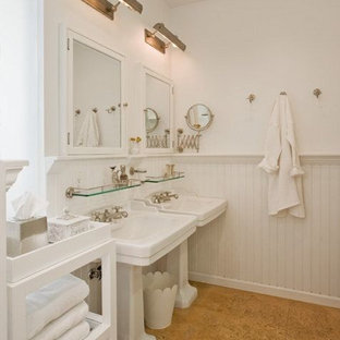 Superbe Bathroom   Craftsman Cork Floor Bathroom Idea In Austin With A Pedestal  Sink And White Walls