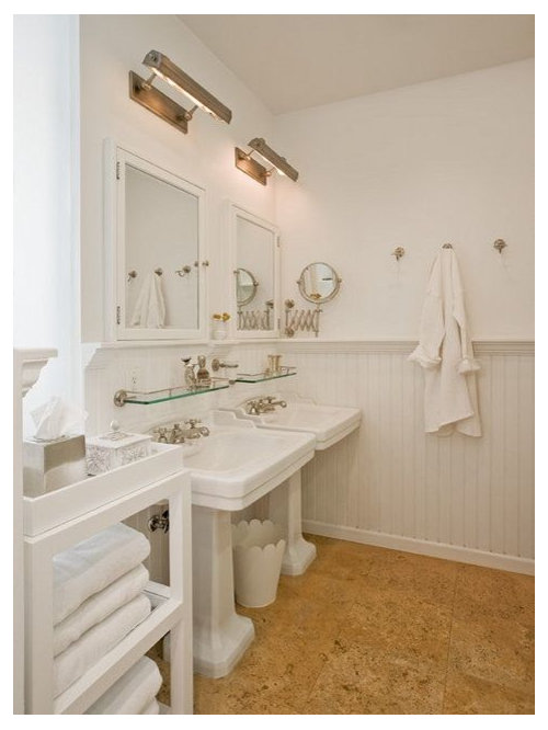 Bathroom   Craftsman Cork Floor Bathroom Idea In Austin With A Pedestal  Sink And White Walls