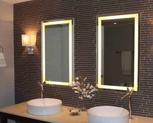 example of a mid sized trendy gray tile and matchstick tile bathroom design in miami - Matchstick Tile Bathroom Ideas