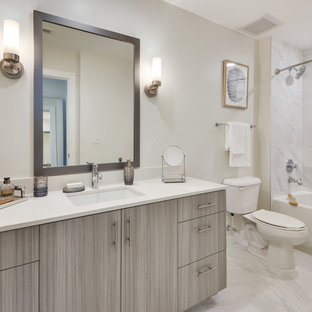 Example Of A Mid Sized Trendy Kidsu0027 White Tile And Marble Tile Marble Floor
