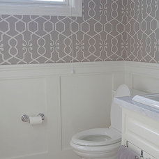 Transitional Bathroom by Belmont Design Group
