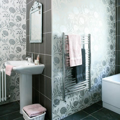 eclectic bathroom idealhomemag- bathroom wallpaper