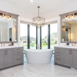 Attrayant Freestanding Bathtub   Large Transitional Master Ceramic Floor And White  Floor Freestanding Bathtub Idea In Salt
