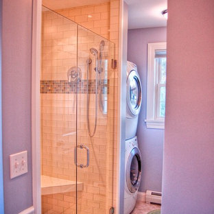 Photo of a traditional bathroom in Portland Maine with a laundry.