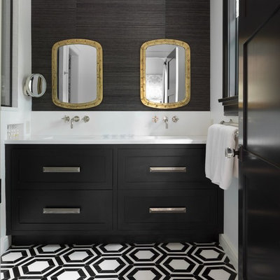 Example of a transitional master multicolored floor bathroom design in New York with shaker cabinets, black cabinets, white walls and white countertops
