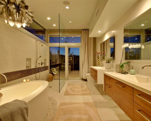 example of a 1950s master beige tile bathroom design in los angeles with flat panel - Houzz Bathroom Designs