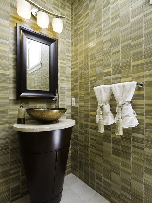 Example Of A Trendy Bathroom Design In Seattle With A Pedestal Sink