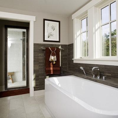Freestanding bathtub - contemporary freestanding bathtub idea in Seattle