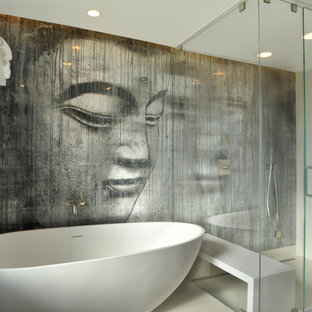 Inspiration For A Mid Sized Contemporary Master White Tile Porcelain Floor Bathroom Remodel In Los