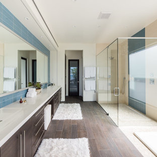 Inspiration For A Contemporary Master Blue Tile Brown Floor Bathroom Remodel  In San Luis Obispo With