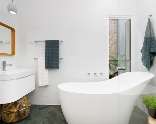 Bathroom With Slate Floors Design Ideas Remodeling Pictures Houzz