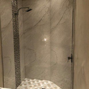 Bathroom - mid-sized transitional master white tile and stone slab mosaic tile floor and multicolored floor bathroom idea in San Diego with beige walls