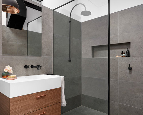 Photo Of A Small Industrial 3/4 Bathroom In Melbourne With Flat Panel  Cabinets