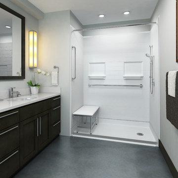 Industrial Bathroom walk in shower accessible shower roll in shower