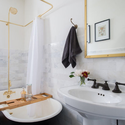 Bathroom - mid-sized contemporary master black tile, black and white tile, gray tile, white tile and stone tile porcelain tile and black floor bathroom idea in Atlanta with white walls and a pedestal sink