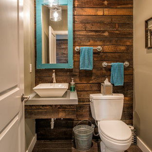Example of a small urban brown floor bathroom design in Other with a vessel sink and white countertops