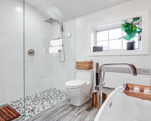 Grey wood floor bathroom design ideas remodels photos for Grey wood floor bathroom