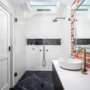 Industrial bathroom in Perth with a claw-foot tub, engineered quartz benchtops, white benchtops, flat-panel cabinets, dark wood cabinets, white tile, subway tile, a vessel sink, a niche, a single vanity and a floating vanity.