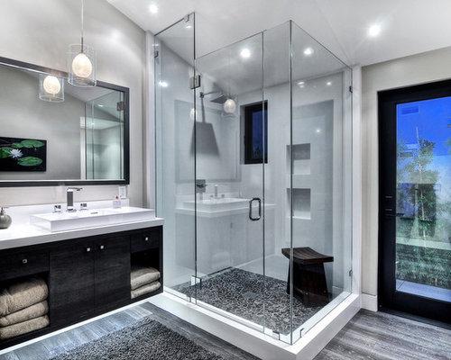 Grey Wood Floor Bathroom Ideas | Houzz