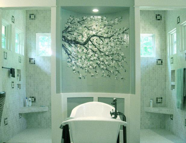 Lovely Transitional Bathroom by Designer Glass Mosaics