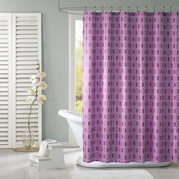 Intelligent Design Lexie Fabric Shower Curtain, Purple - This modern print gets new life in plum. The washable fabric is ideal for a house with kids and guests!