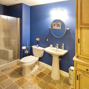 На фото: детская ванная комната среднего размера в классическом стиле с раковиной с пьедесталом, фасадами с утопленной филенкой, синими стенами, полом из линолеума, искусственно-состаренными фасадами, душем в нише и раздельным унитазом с