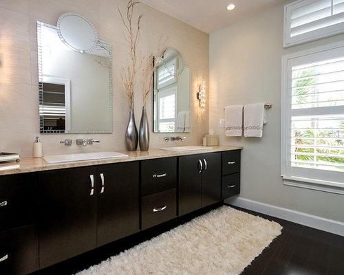 Contemporary Beige Tile Dark Wood Floor Bathroom Idea In Jacksonville With  A Drop In Sink