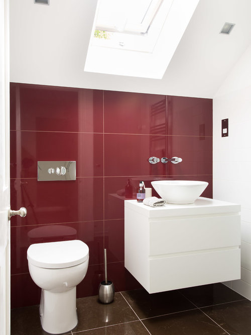Example Of A Small Trendy Red Tile And Ceramic Floor Brown Bathroom