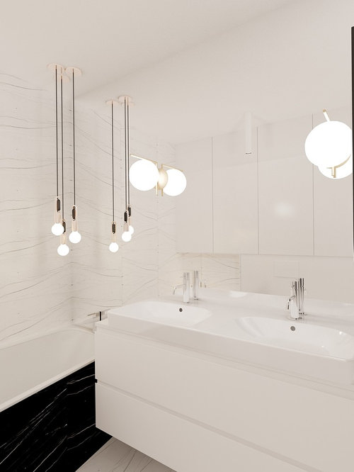 Inspiration For A Contemporary Bathroom With Flat Panel Cabinets, White  Cabinets, A Built