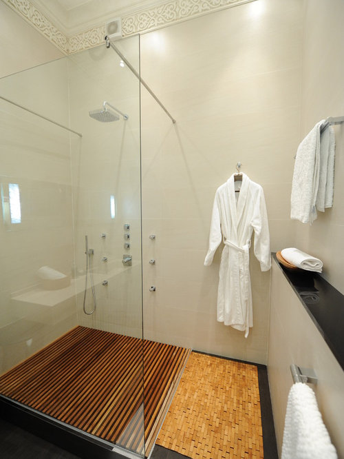 Inspiration For A Contemporary White Tile Bathroom Remodel In Other