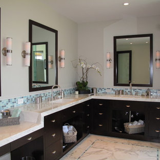 Example of a mid-sized trendy master blue tile, gray tile and mosaic tile marble floor alcove shower design in Los Angeles with flat-panel cabinets, dark wood cabinets, beige walls, an undermount sink and marble countertops