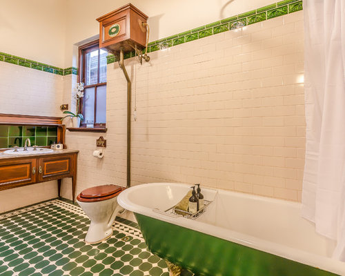 Photo Of An Eclectic Bathroom In Perth With A Claw Foot Tub, Porcelain Tile