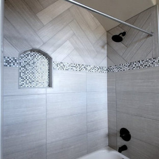 Mid-sized tuscan 3/4 gray tile, white tile and mosaic tile bathroom photo in Austin with white walls