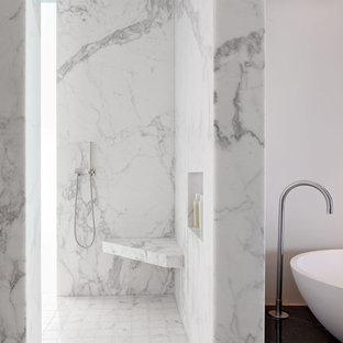 Bathroom - modern marble tile bathroom idea in San Francisco