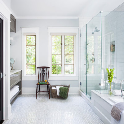 Example of a classic white tile and subway tile white floor bathroom design in Atlanta with an undermount sink, recessed-panel cabinets and gray cabinets