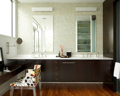 inspiration for a large modern master mosaic tile and white tile medium tone wood floor bathroom