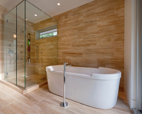 Example of a trendy bathroom design in Vancouver with a freestanding tub - Wood Look Tile Flooring Houzz