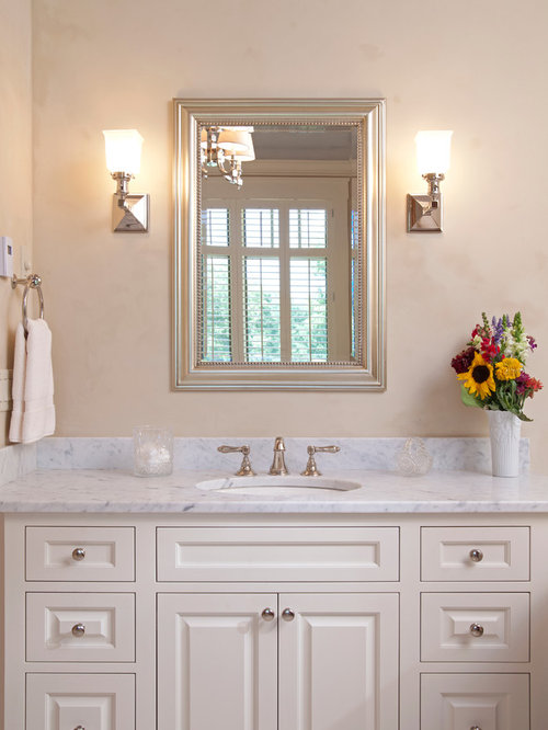 Superior Silver Framed Mirror Bathroom Part - 11: Traditional Bathroom Idea In Minneapolis With Marble Countertops