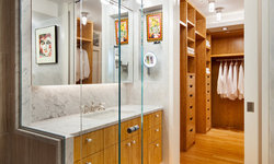 Intimate (170sf) Accessible Master Bathroom/Dressing Area for an Artist