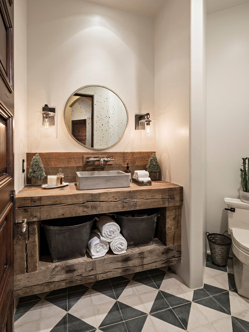 Best Rustic Bathroom With Cement Tile Design Ideas Remodel Pictures Houzz