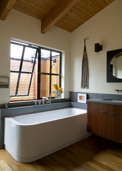 Transitional Bathroom by Gustave Carlson Design