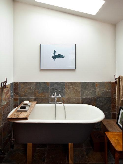 Bagno eclettico con piastrelle in ardesia foto idee arredamento - Bagno in ardesia ...