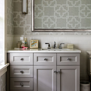 Example of a small transitional kids' white tile and subway tile ceramic floor and white floor bathroom design in Portland with gray cabinets, an undermount sink, engineered quartz countertops, recessed-panel cabinets, gray walls and white countertops