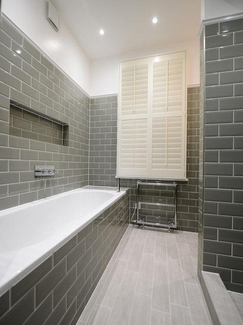salle de bain campagne avec un mur jaune photos et id es d co de salles de bain. Black Bedroom Furniture Sets. Home Design Ideas